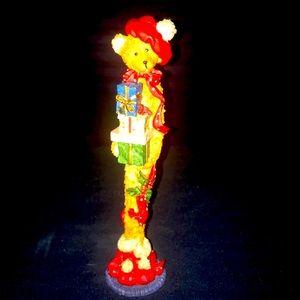 Vintage Tall Skinny Christmas Teddy Bear Figurine